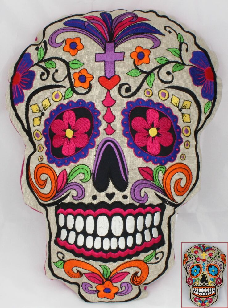mexikanischer sugar skull old school sch del tattoo deko totenkopf kissen motiv ebay. Black Bedroom Furniture Sets. Home Design Ideas