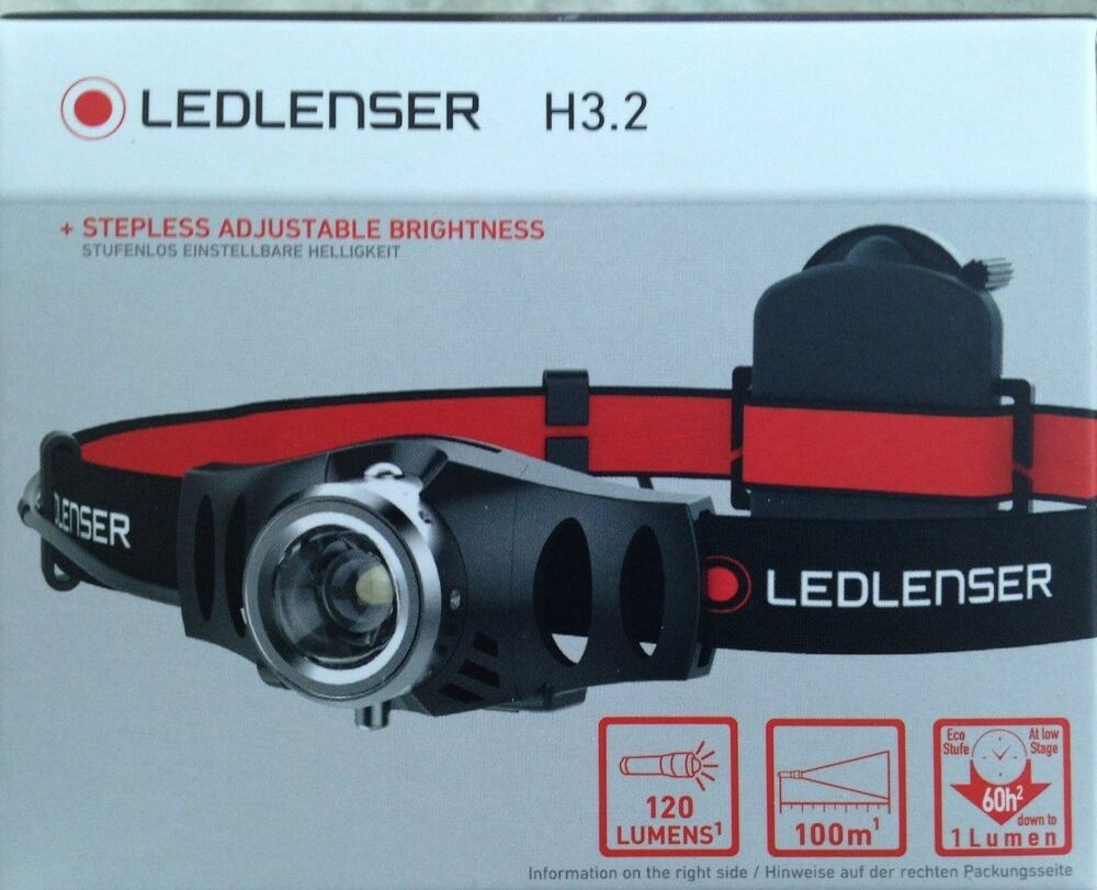 led lenser h3 2 kopflampe mit lichtdimmer bis 120 lm ebay. Black Bedroom Furniture Sets. Home Design Ideas
