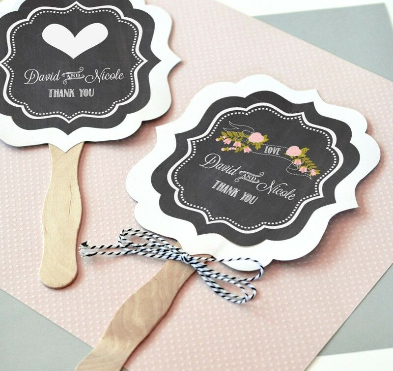 144 Personalized Vintage Chalkboard Paddle Hand Fans Bridal Wedding Favors