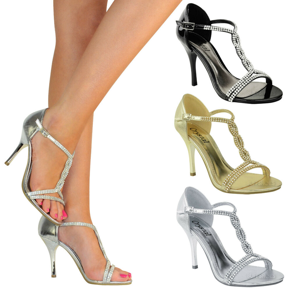ladies womens party prom bridal evening diamante high heels shoes sandals size ebay. Black Bedroom Furniture Sets. Home Design Ideas