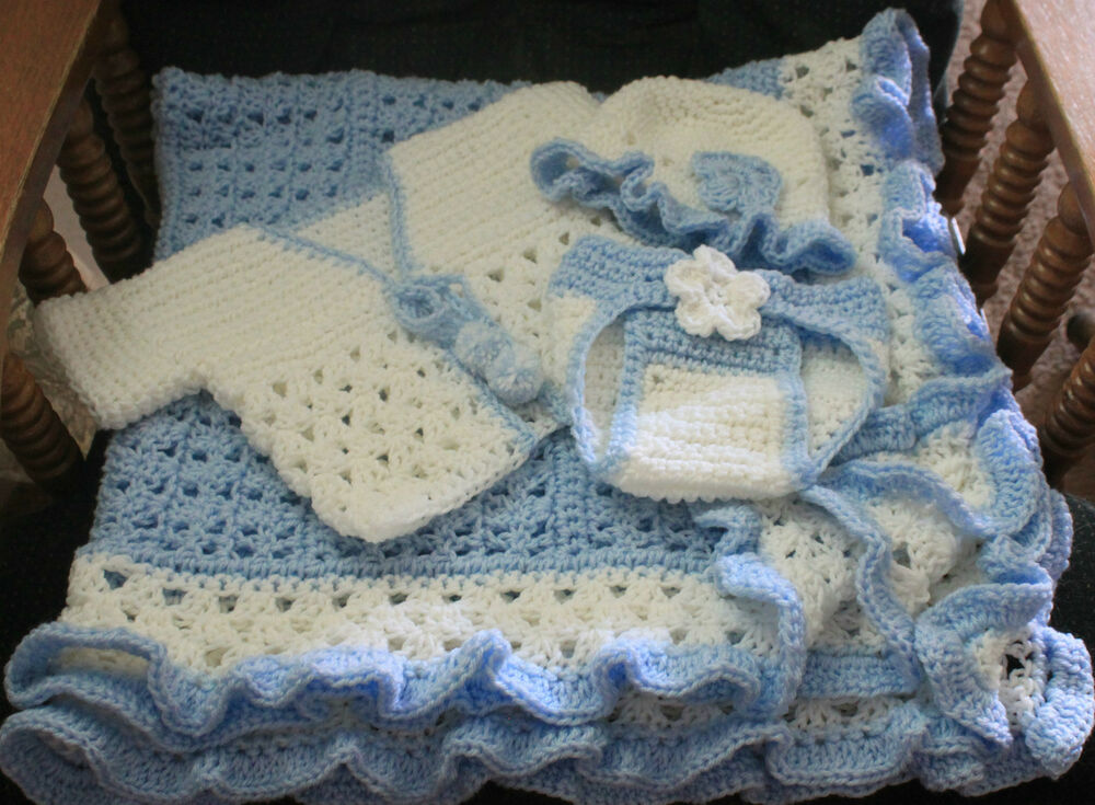 Blue White Ruffle Hand Crochet Baby Blanket W Lots Of