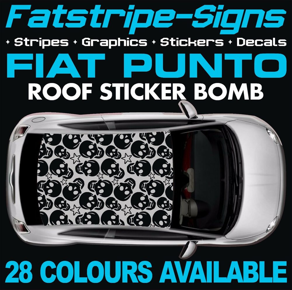 fiat punto graphics vinyl sticker bomb roof decals stickers evo grande abarth ebay. Black Bedroom Furniture Sets. Home Design Ideas