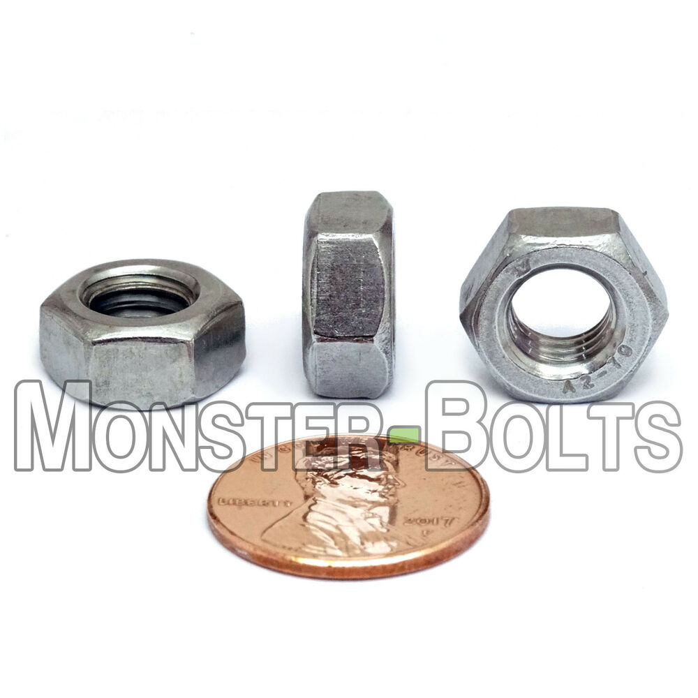 M8 x 1.25 Coarse Thread DIN 934 Finished Hex Nut Stainless Steel 316