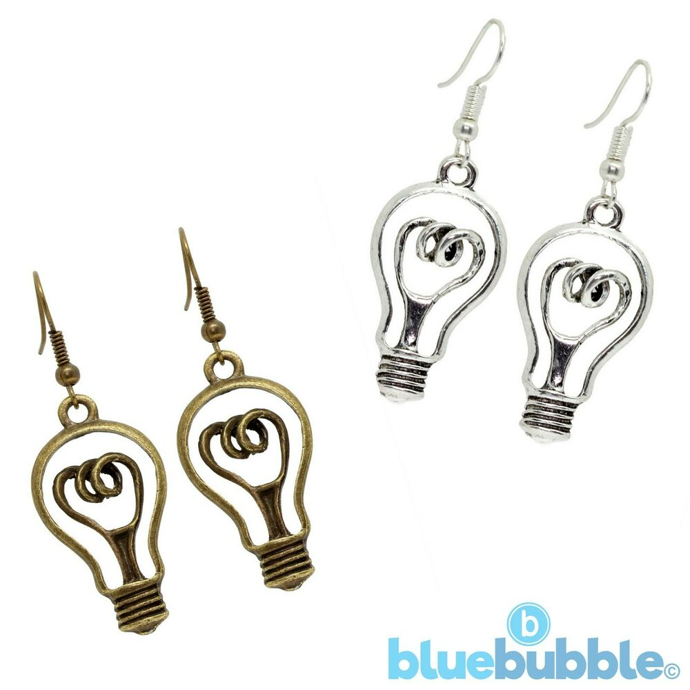 Funky Light Bulb Earrings Cute Kitsch Quirky Style Bright