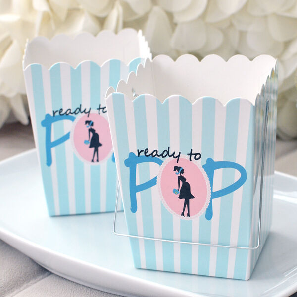 Set Of 10 Ready To Pop Blue Baby Shower Boxes W/ Handle