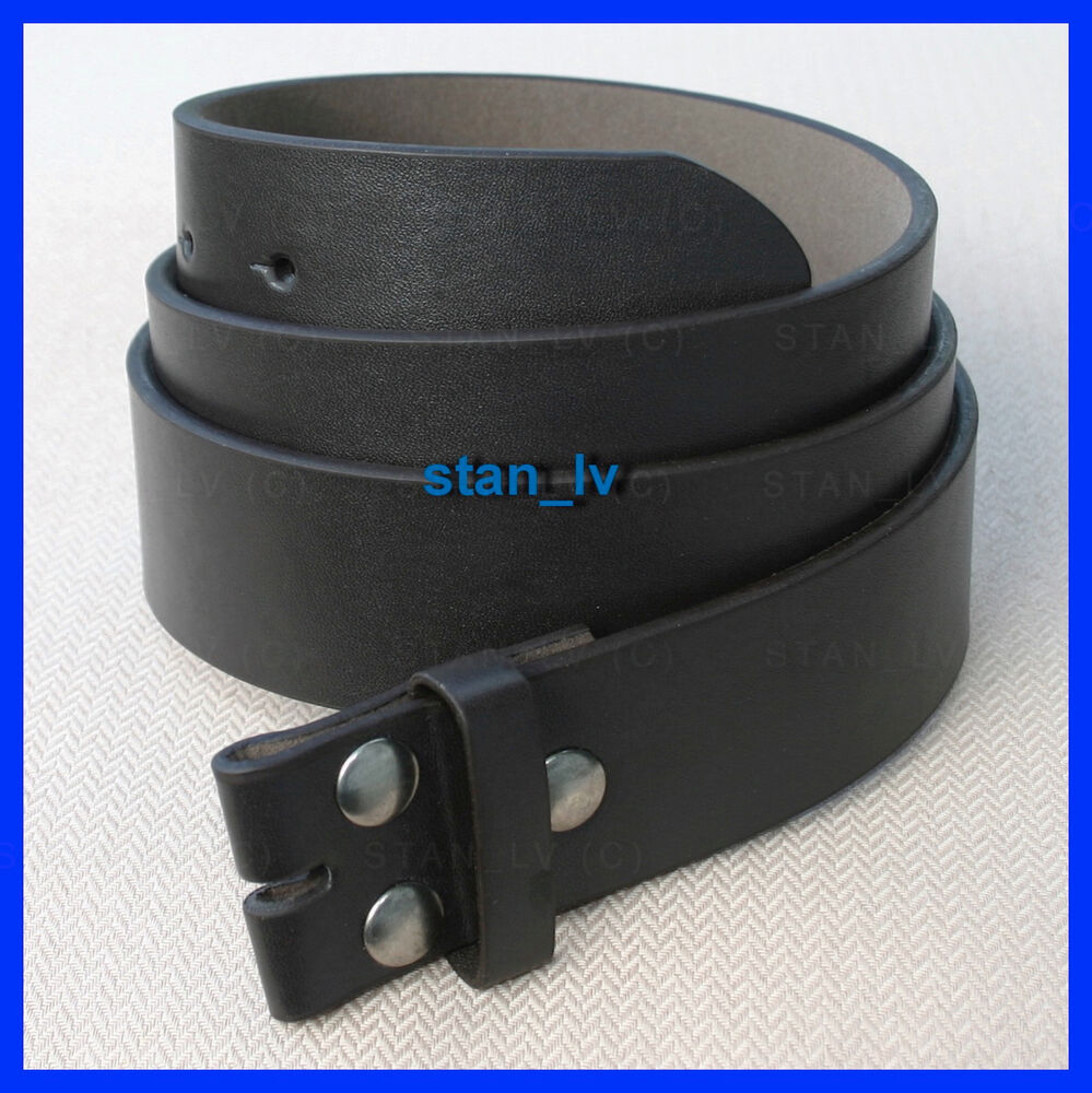 black plain leather belt snap on no buckle casual