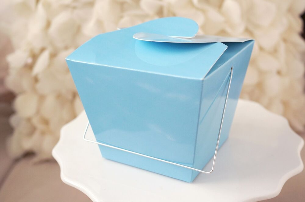 Clear Chinese Take Out Favor Boxes : Blue chinese asian small take out boxes easy close top