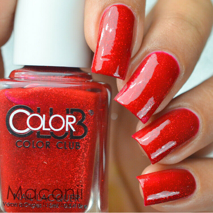 Details about Color Club - Ruby Slippers - Red Glitter Shimmer Nail Polish 15ml