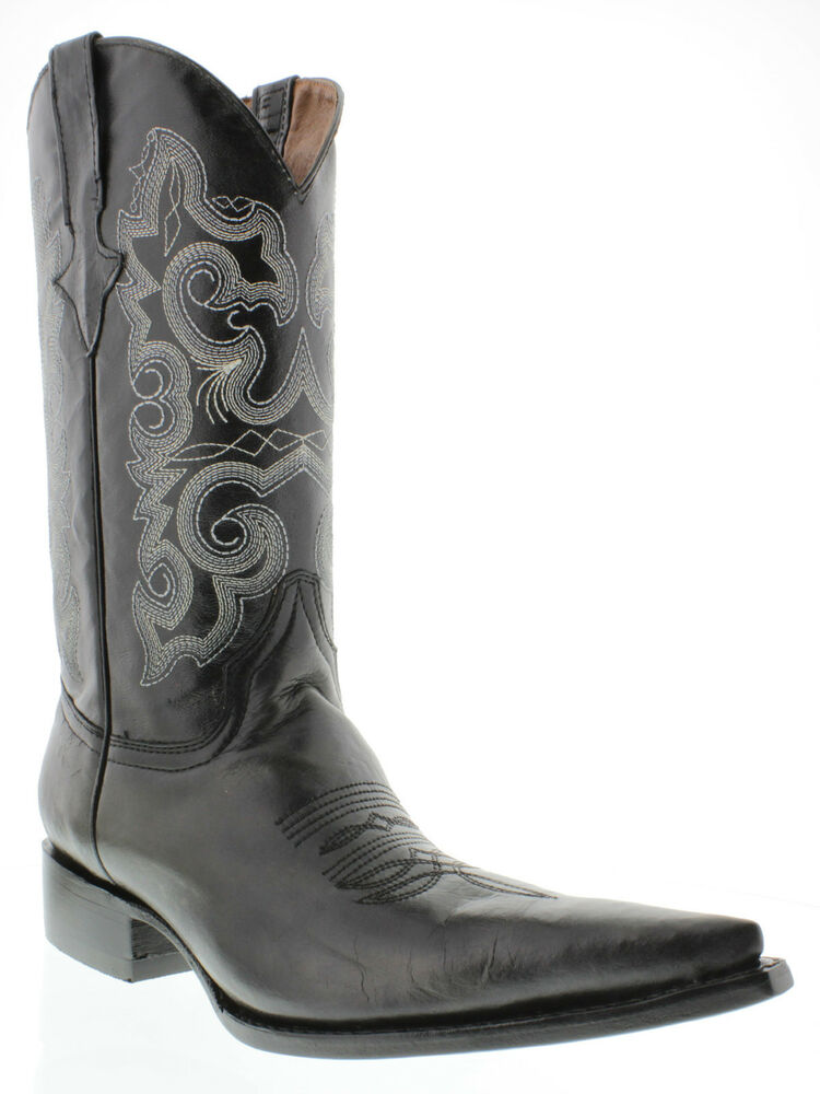 Mens Plain Black Leather Cowboy Boots Western Wear Pull