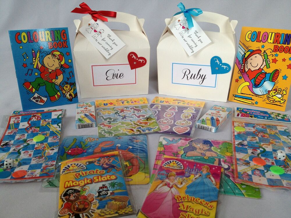 Personalised Childrens Wedding Gift Bags : Personalised Filled Heart Childrens Wedding Activity Bag Box Favour ...