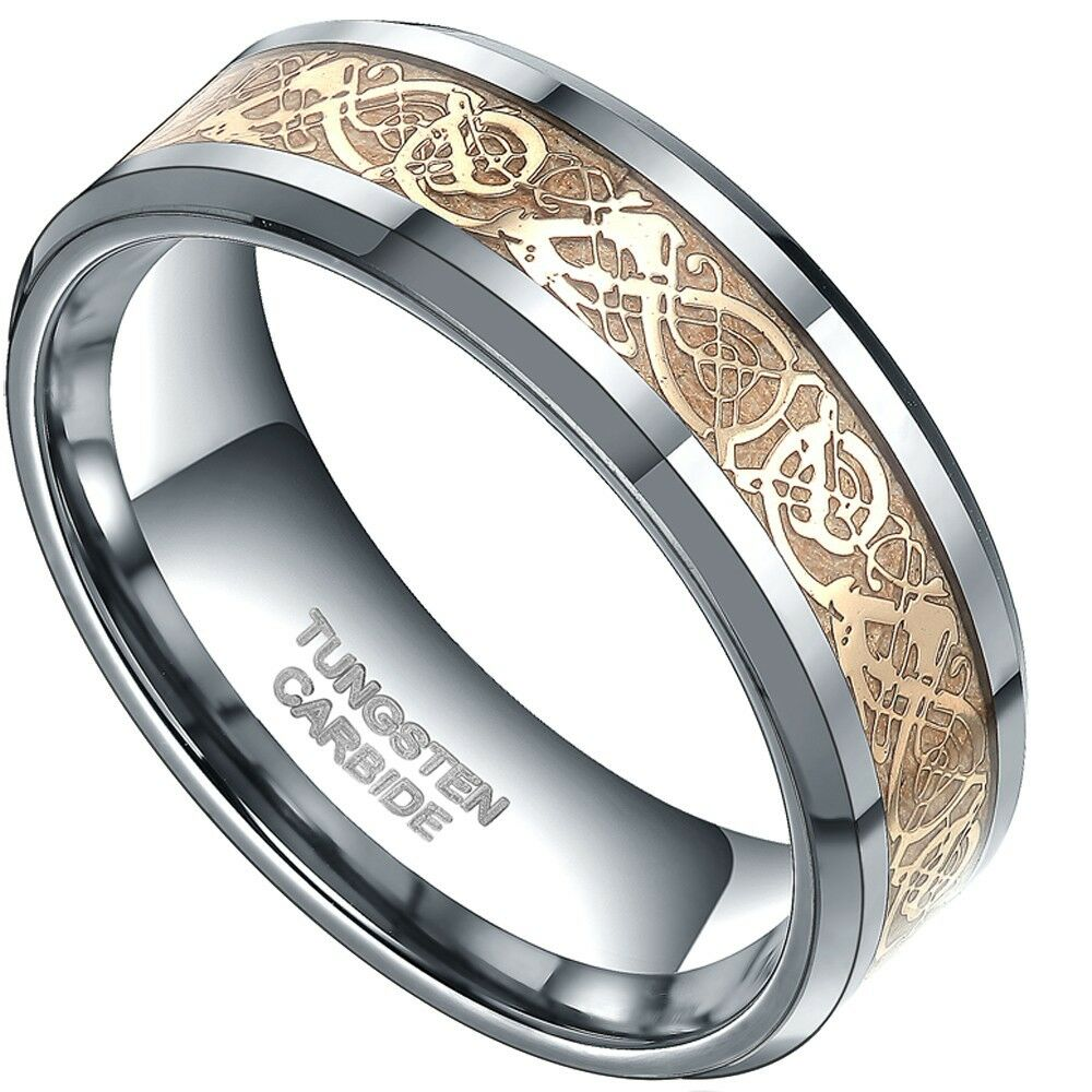 8mm Gold Celtic Dragon Tungsten Carbide Ring Mens Jewelry