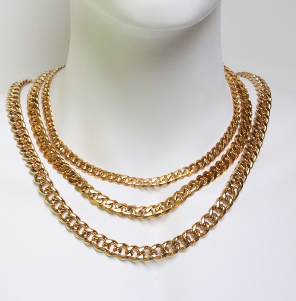 Stainless Steel 18k Gold Plated Men Cuban Link Chain 8 To