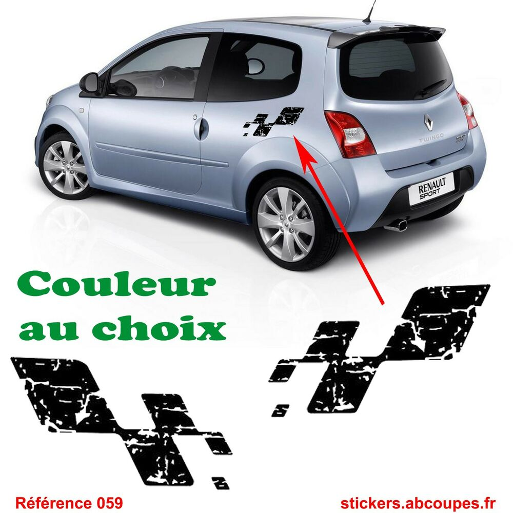 stickers damier destructur renault sport clio megane twingo rs gt 059 ebay. Black Bedroom Furniture Sets. Home Design Ideas