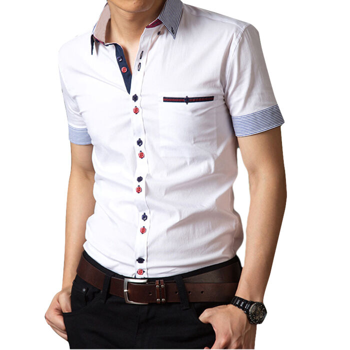 Ad46 new men 39 s cotton luxury casual slim fit stylish short for Mens short sleve dress shirts