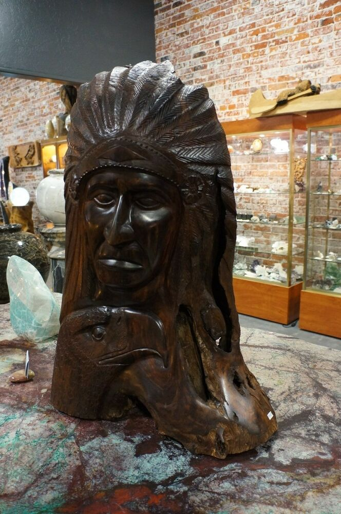 One of a kind quot tall ironwood carving indian chief