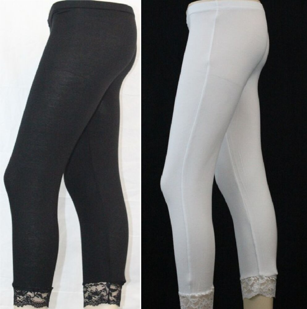 new womens leggings 3 4 cropped bottom lace ladies. Black Bedroom Furniture Sets. Home Design Ideas