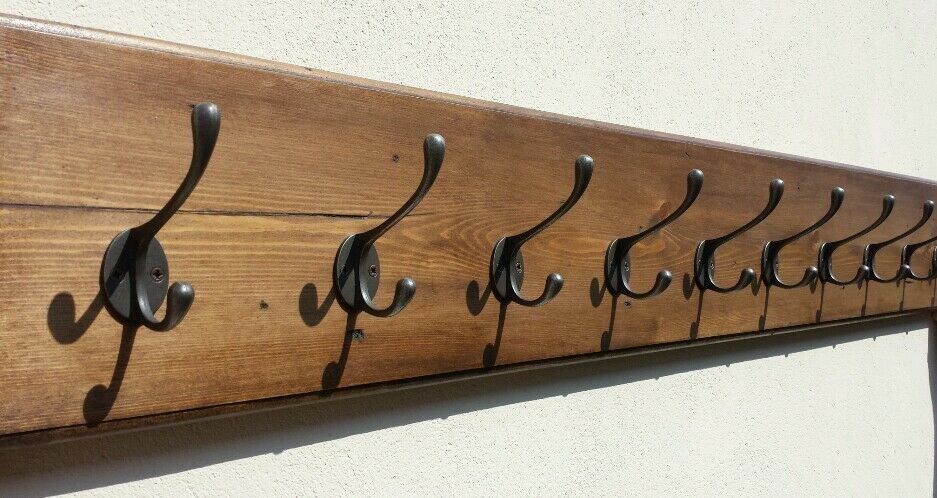 Chunky Vintage Style Wall Mounted Wooden Coat Rack 7 To 10