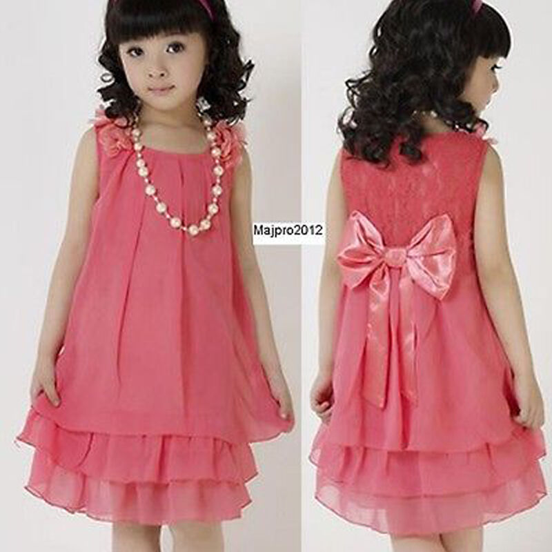 Girls Kids Big Bow Princess Dress Pearl Necklace Clothes ...