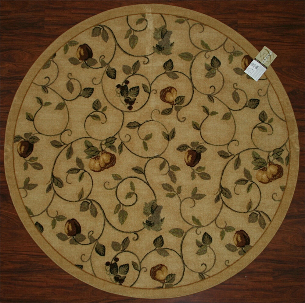 6' Round Kitchen Rug Fruits Vines Pears Beige Green Grapes