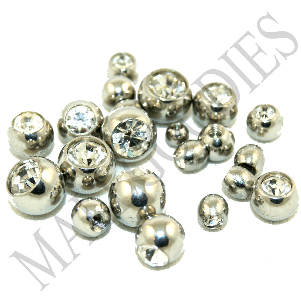 V050 Replacement Piercing Balls Clear Belly Tongue ...