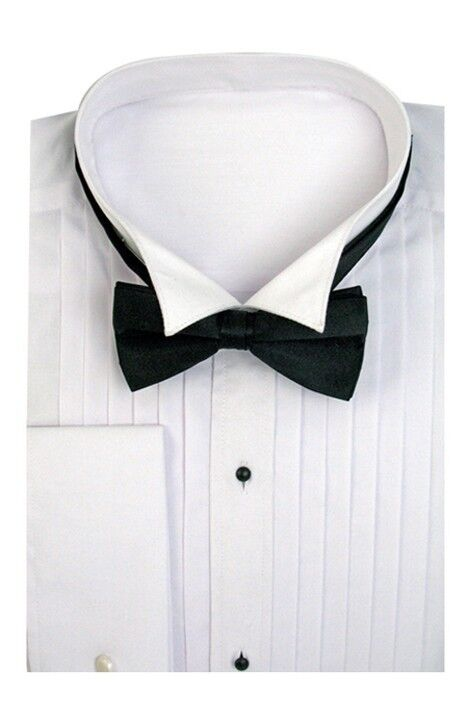 Men 39 s tuxedo dress shirt wing collar with bow tie set for Mens dress shirt button covers