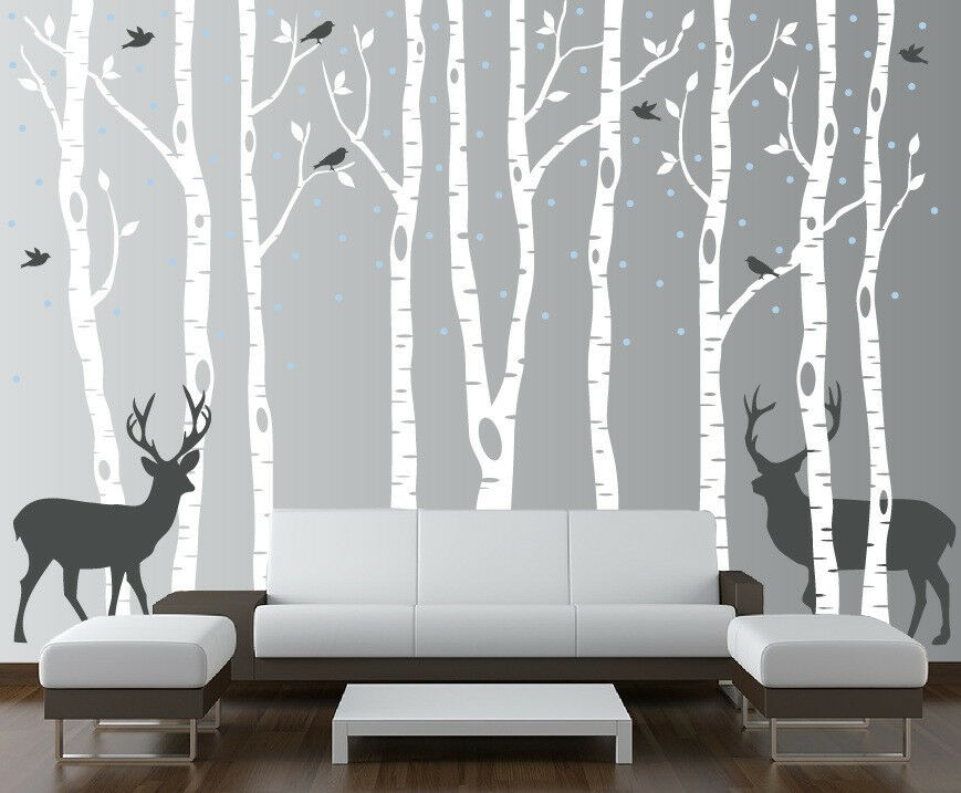 Birch tree wall decal forest with birds and deer vinyl for Deer wall mural