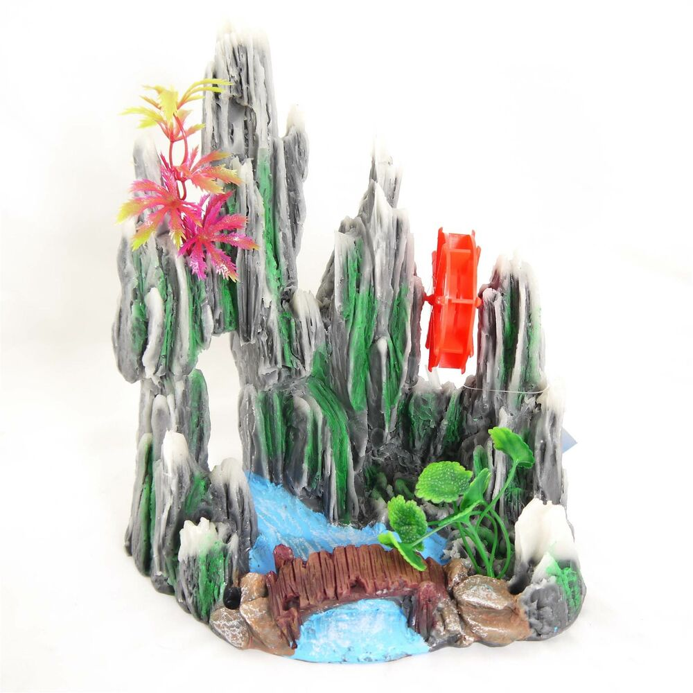 Aquarium fantasy rock water wheel ornament fish tank for Aquarium decoration ornaments