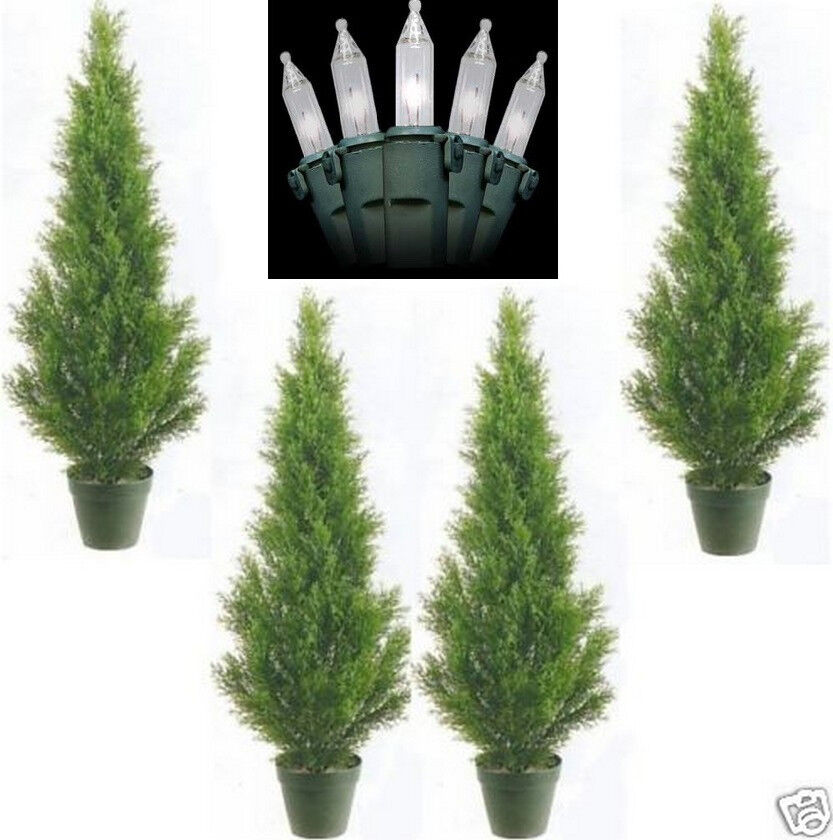 4 CEDAR IN OUTDOOR 3 39 TOPIARY TREE PLANT ARTIFICIAL BUSH WITH CHRISTMAS L
