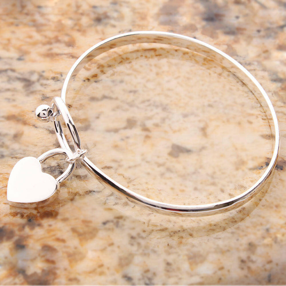 Metal Charm Bracelets: Fashion 625 Sterling Silver Charm Peach Heart Bangle
