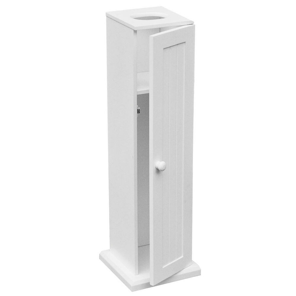 White Wooden Bathroom Toilet Paper Roll Holder Floor