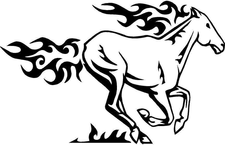 Vinyl Decal Sticker Flaming Horse Mustang Paint Colt Pony