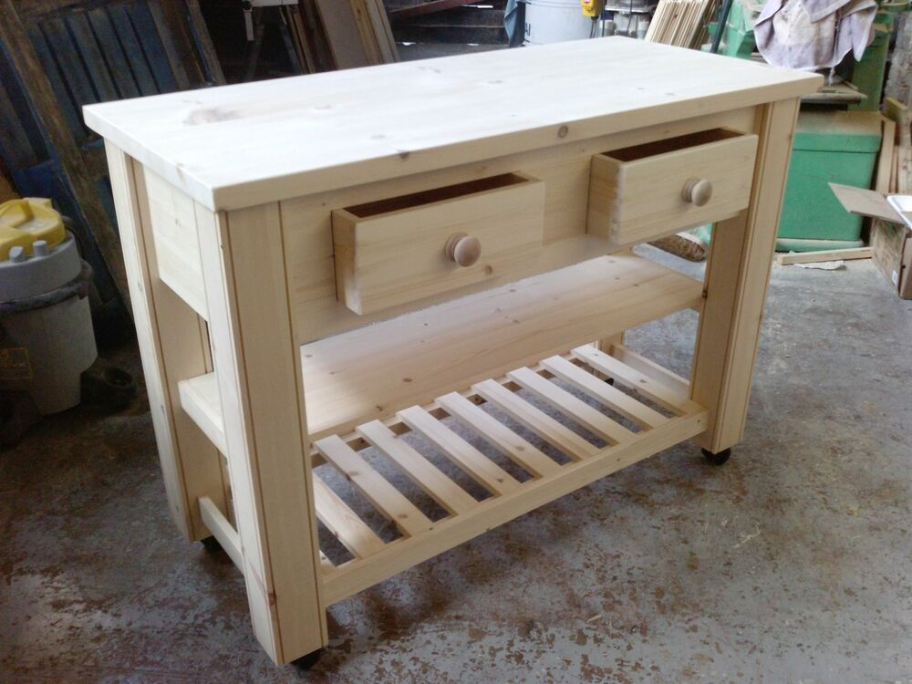 handmade solid pine kitchen island trolley ebay amish pine kitchen island with stools