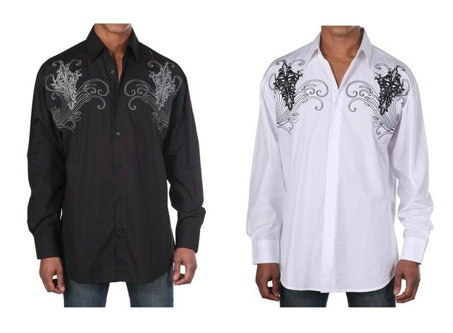 Men 39 s western cotton embroidered casual shirt 42 black for Cotton dress shirts for men