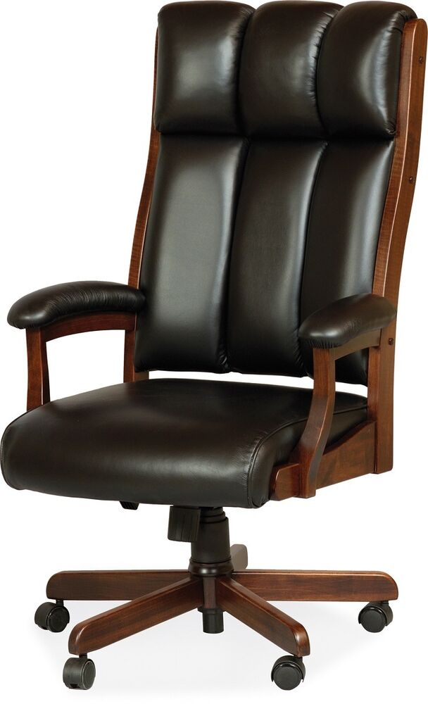 Wood Arm Chairs For Office ~ Amish desk arm chair computer solid wood leather