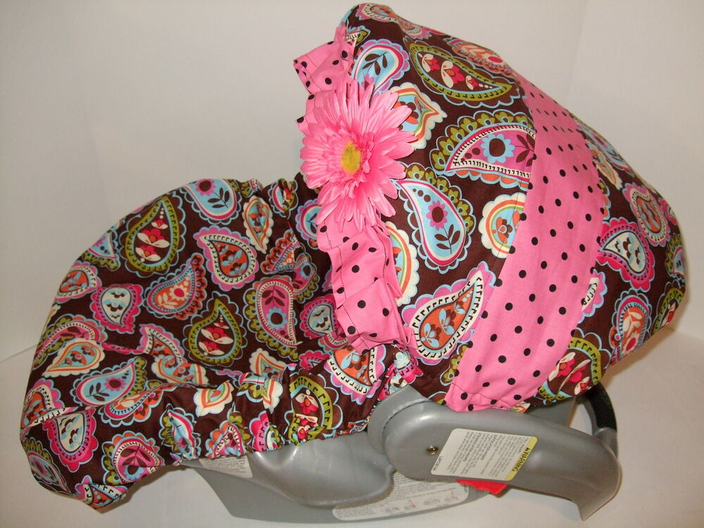 new brown paisley print ruffle flower infant car seat cover baby trend fit ebay. Black Bedroom Furniture Sets. Home Design Ideas