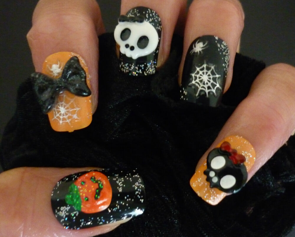 Halloween 3d nail art decoration bows skulls pumpkins nail for 3d nail art decoration