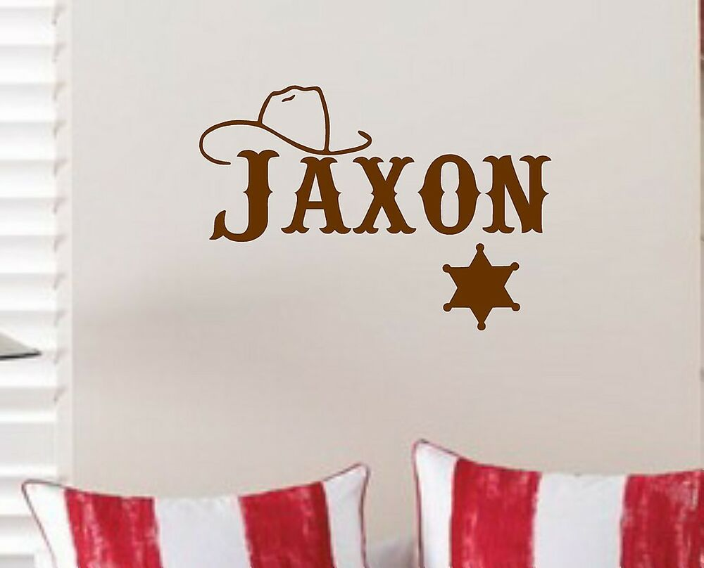Boys Vinyl Wall Decal Cowboy Sheriff Personalized With