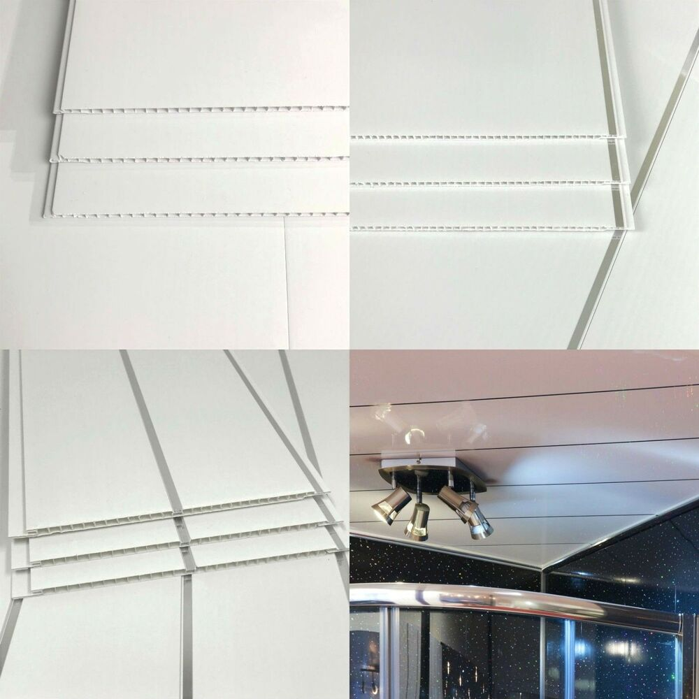 Bathroom Wall Panels Gloss White Or White Chrome Inset PVC Ceiling Cladding