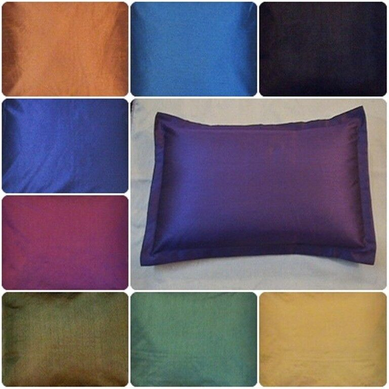Standard Decorative Pillow Measurements : plain solid bed pillow case queen standard king size covers polyester 8 colors eBay
