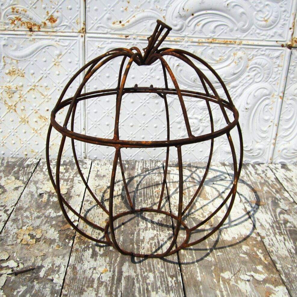 Quot large wrought iron pumpkin with hinged lid fall