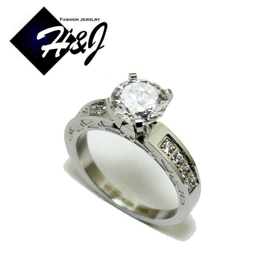 Women's Stainless Steel Silver 1.49 CT Round Cut CZ ...