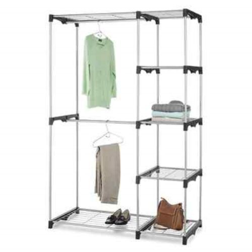free standing steel closet clothes organizer storage 2. Black Bedroom Furniture Sets. Home Design Ideas