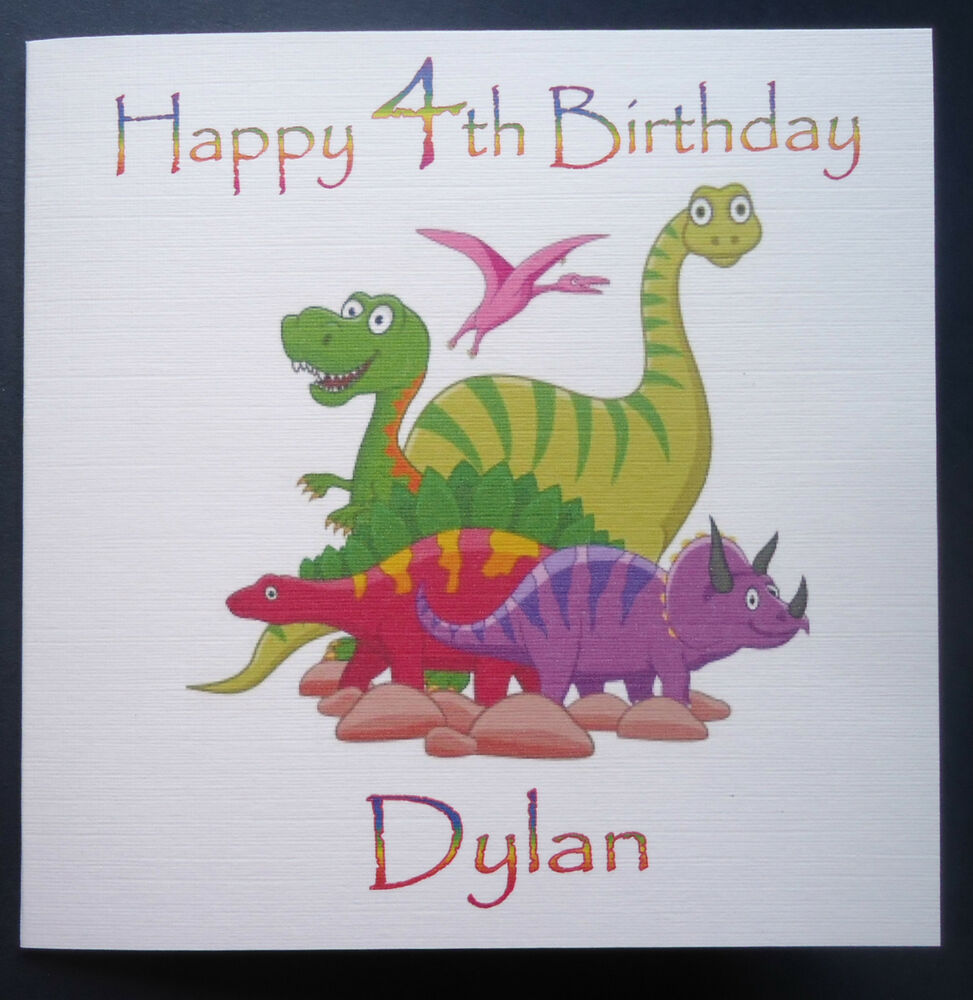 PERSONALISED DINOSAUR BIRTHDAY CARD - ANY AGE 1st 2nd 3rd 4th 5th ...