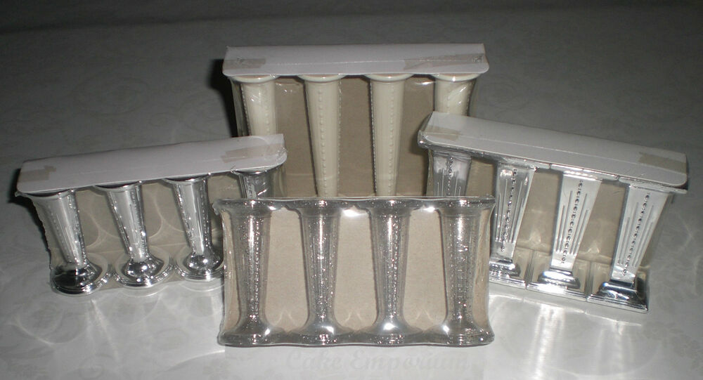 wedding cake pillars and dowels uk wedding cake pillars silver ivory glitter clear 3 quot 3 23459