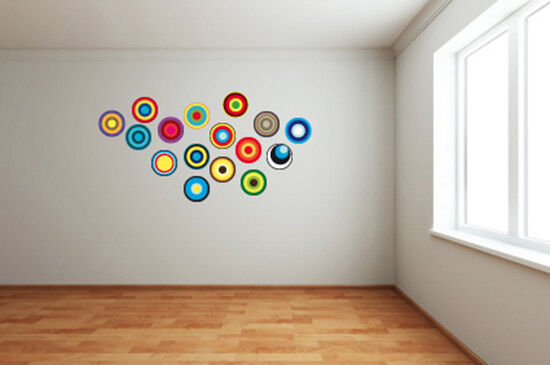 Circle Wall Art retro circles - discs / multi coloured / circle / fun themed wall