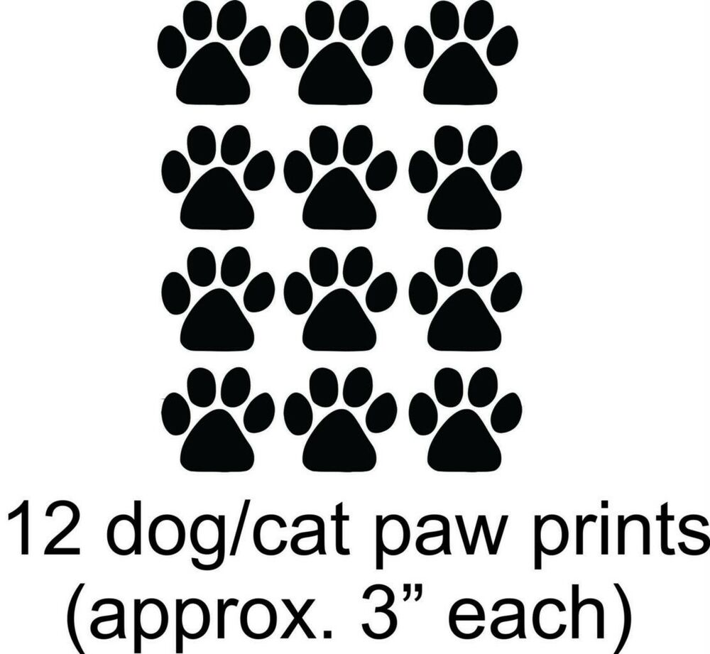 Dog Cat 12 Paw Puppy Prints Vinyl Wall Decal Animal 11