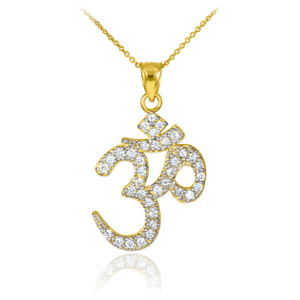 14k gold studded om pendant necklace yellow gold