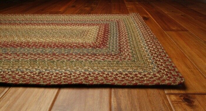 Jute Braided Area Floor Rug Rectangle Oval Brown Red