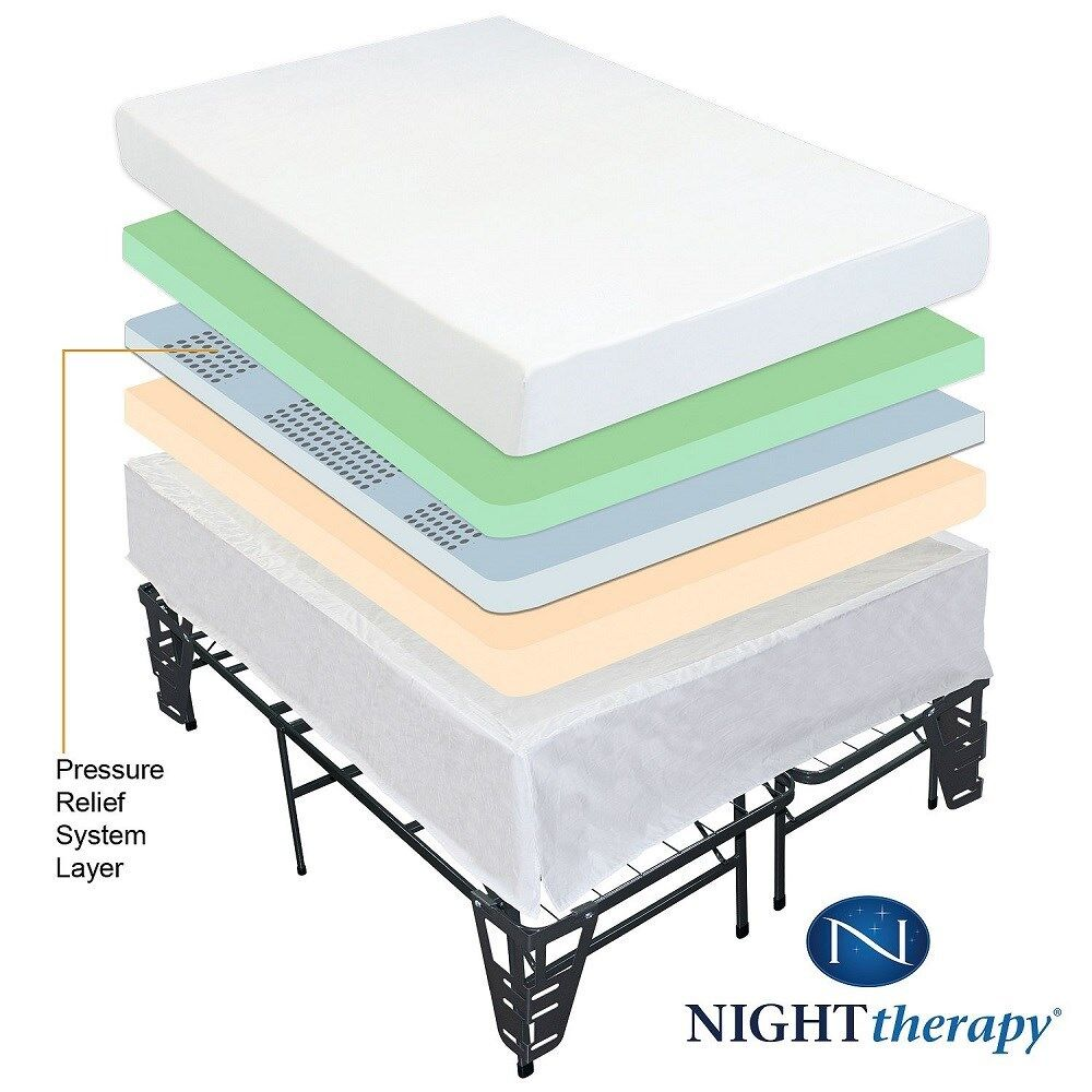 Night therapy 8quot memory foam mattress and bed frame set for Full bed sets with mattress