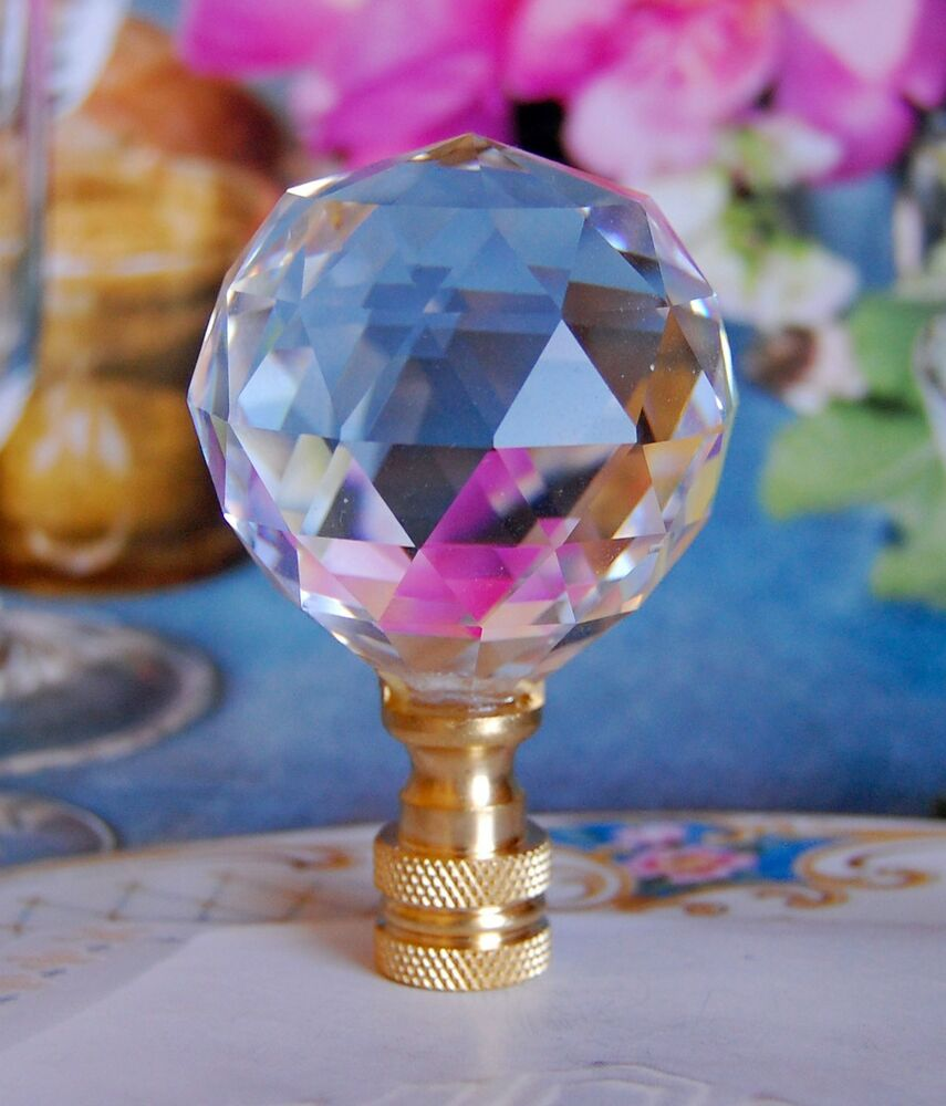 Lead Glass Crystal Ball Lamp Shade Finial 40mm Ebay